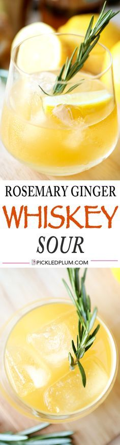 Rosemary Ginger Whiskey Sour Recipe - tart and refreshing, the perfect holiday drink! http://www.pickledplum.com/rosemary-ginger-whiskey-sour-recipe/