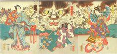 Kabuki Kunisada cat okabe japanese prints ukiyoe Stuart Jackson Gallery