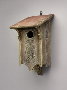 """Victorian Owl House by Griffith Creek Designs. Repurposed barnwood, complete with drainage holes, heat vents, and copper fittings. Good for Northern saw-whet, screech owls, and sparrow hawks, with a 3"""" entrance. 2' x 2' by 15"""" deep. 10.5 lbs. Each piece is made to order. $400"""