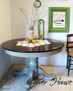 paint an old oak table and stain the top.... pretty! ! I want to do this to my dining table!