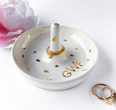 Monogrammed White & Gold Ring Dish  Ring Holder by ModernMud