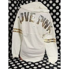 Pre-owned Victorias Secret Pink Bling Sequin Hoodie Off-white Varsity... ($102) ❤ liked on Polyvore featuring tops, hoodies, ivory, pink sequin top, sweatshirts hoodies, graphic hoodies, pink hoodie and pink hoodies