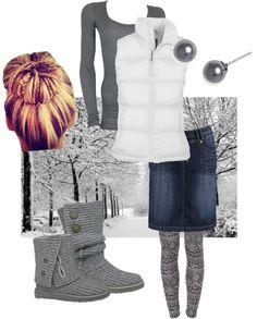 Gray shirt, white vest, denim skirt, gray leggings and boots [more at pinterest.com/eventsbygab]