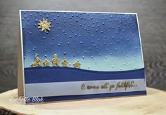 The Sleigh Ride Edgelits punch helps you create Bethlehem, and the Softly Falling embossing folder adds the starry night scene.  DIY Christmas card