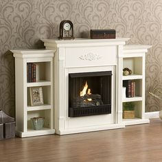 Holly & Martin Fredricksburg Gel Fireplace with Bookcases, Ivory 37-104-031-9-18 | seattleluxe.com
