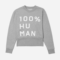 We launched the 100% Human Collection to support two things that matter to us—protecting human rights and remembering that we are more the same than we are different. For every 100% Human product sold, we're proud to donate $5 towards the  ACLU. #HumanTogether    Featured here is our women's Classic Fleece Crew sweatshirt with a large print, as well as our 100% Human pin—free with every purchase while supplies last