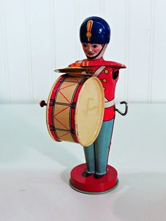 1940s J Chein Tin Soldier Drummer W/ Cymbals by KentonCollectibles, $130.00