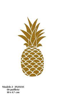 Motif Ananas 10 cm en flex thermocollant or pailleté