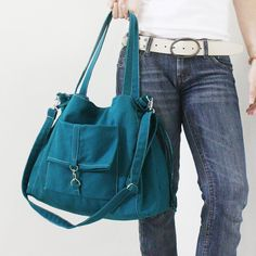 Isn't it pretty? - EZ Canvas Bag in Dark Turquoise-Double Strap Shoulder Bag/Tote/CrossBody Messenger