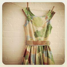 vintage landscape Tea Dress. via Etsy.// so gorgeous . . so covetous . . .