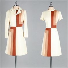 Vintage 1960s dress * Ivory and brown tones polyester  * Fabulous optical print  * Acetate lining  * Original matching jacket  * Back zipper  * By Lilli Ann Knits    Condition | In excellent vintage condition. Size | Fits like modern size L/XL.    Accessories not included.    Some clothes may be clipped on dress form to show best fit for appropriate size.    Length 40  Waist to Bottom Hem 24  Bodice Length 16  Bust 40  Shoulders Sleeves Waist 32  Hips up to 40  Bodice Allowance Hem Allowance…