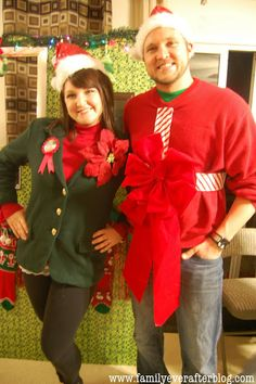 Family Ever After.: tacky Christmas Sweater Party Recap: All the Details and Decor! Diy Ugly Christmas Sweater Party Ideas, Tacky Christmas Party, Mens Ugly Christmas Sweater, Ugly Xmas Sweater, Christmas Costumes, Xmas Sweaters, Christmas Ideas, Merry Christmas, Ugly Sweater Contest