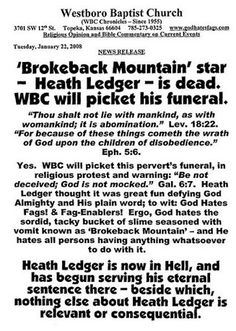 Heath Ledger Funeral Flyer