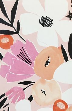 """Pink Floral Bouquet"" art print by Lisa Rupp - from original gouache painting."