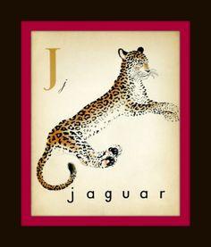 """Vintage French """"J"""" Alphabet Print - J - French Alphabet - Nursery Art Print - Children Decor - Home Decor - French Animal on Etsy, $10.00"""