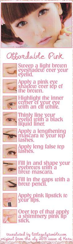 Asian eyes pink makeup tutorial