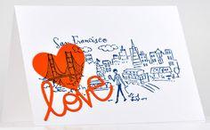 San Francisco Love, Orange and Blue  Penny Black Stamps