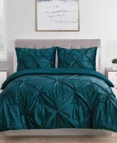 Bring a splash of sophisticated style to your sleep space with this comforter set showcasing a soft velvet construction and pin tuck design. Teal Bedspread, Teal Bedding Sets, Blue Comforter Sets, King Comforter, Rack, Space Furniture, Bed Spreads, Luxury Bedding, Comforters