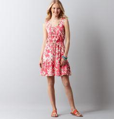 LOFT Floral Print Tie Waist Tank Dress - Guava Pink $49.50