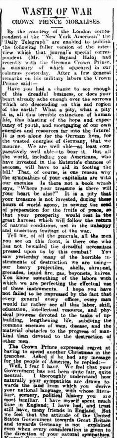 """WWI, 5 Dec 1916; """"German crown prince regret having to spend another Christmas in the trenches"""" - Daily Herald, Adelaide"""