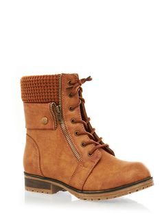 Exposed Zipper And Sweater Trim Lace-Up Faux Leather Combat Boots - Rainbow - 1116014064376