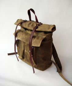 The Camper Satchel in Tan Waxed Canvas from sketchbook on Etsy.