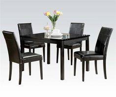 Portland Black Wood 5pc Pack Dining Table Set