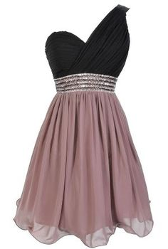 Purple Short Chiffon A-Line Homecoming Dress Featuring Black Ruched One Shoulder Bodice with Crystal Embellishment