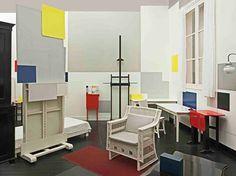 Recreation of Piet Mondrian's Paris studio. Not only a Mondrian generator but a Mondrian itself! Situation photo A. Kértèsz 1926 © 2014 STAM, Research and Production: Frans Postma Delft-NL. Tate Gallery, Modern Artists, Le Corbusier, Art Studios, Bauhaus, Architecture, Bed, Furniture, Instagram