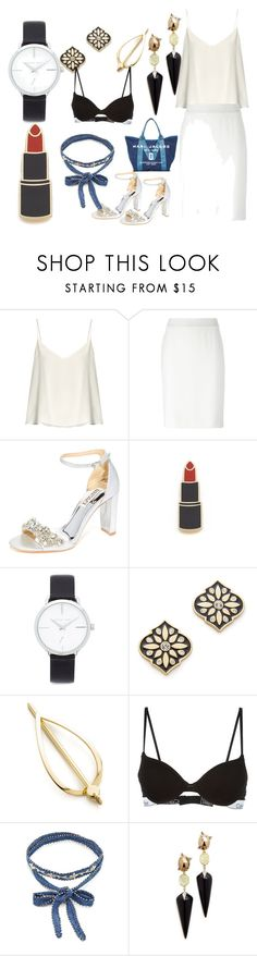 """Beauty and style"" by denisee-denisee ❤ liked on Polyvore featuring Raey, Armani Collezioni, Badgley Mischka, Georgia Perry, Michael Kors, Kate Spade, Elizabeth and James, Calvin Klein, Chan Luu and Alexis Bittar"