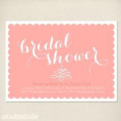 Calligraphy Scalloped Bridal Shower Invitation