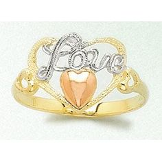 Amazon.com: 14k Gold Ring Love With Heart Ring Tri-color: Million Charms: Jewelry