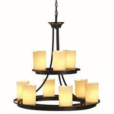 The husband says this is it. allen   roth Harpwell 9-Light Oil Rubbed Bronze Chandelier