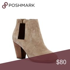 """Sole Society LYLEE Taupe Suede Bootie Absolutely beautiful ankle bootie made from soft smoke taupe suede. Features a curved top line, a comfortable stacked 3"""" heel, and elastic sides for all-day comfort.  The color and style are so versatile, they'll go with everything!   Brand new in box. Sole Society Shoes Ankle Boots & Booties"""