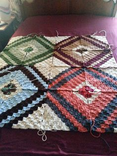 """c2c blanket -- """"It's corner to corner. Color sequence is this: 7 rows Aran...2 rows of first color. ..2 rows of second color. .1 row of first color ..decrease then 2 more rows of same color.. . 5 rows of second color. ..2 rows of Aran...2 rows of verigated. Aran is off white or cream color.""""   10349084_10202258859103461_5510278751842548911_n.jpg (720×960)"""