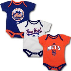NY Mets Baby Outfit (3 -Pack)  ken will want to buy these for someone if we ever have grandkids  lol