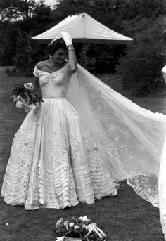 Jacqueline Kennedy at Hammersmith Farm in Newport, Rhode Island on her wedding day, September 12, 1953