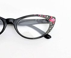 769c9a245744 Reading Glasses Pink Flamingo +1.25 Cat eye style frames Black frames with  hand .