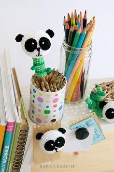 Amigurumi panda accessori da scrivania - desk accessories - besenseless.blogspot.com