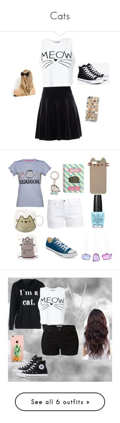"""Cats"" by saraleahy ❤ liked on Polyvore featuring Miss Selfridge, New Look, Converse, Casetify, Pusheen, OPI, Frame, LE3NO, Estella Bartlett and The Casery"