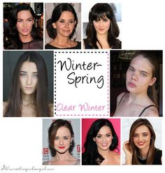What are my best colors according to my overall look? This is an easy to understand and detailed post with celebrity examples about the Clear Winter (Winter-Spring) seasonal color palette. Clear Spring, Clear Winter, Deep Winter, Bright Spring, Ash Brown Hair, Dark Hair, Dark Brown, Winter Typ, Seasonal Color Analysis