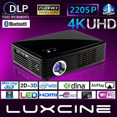 New Luxcine Portable 2205P Home Theater Cinema Bluray 3D LED DLP Mini Projector #Luxcine