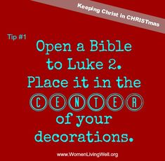 Day Keeping Christ in CHRISTmas ~ Tip I absolutely LOVE this idea! I love the idea of placing it under the tree or in the boughs. Challenge: share an extra copy of the Bible - Luke 2 with someone this week Christmas Jesus, Christian Christmas, Little Christmas, Winter Christmas, Christmas Crafts, Christmas Decorations, Christmas Ideas, Merry Christmas, Celebrating Christmas
