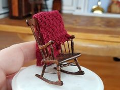 Dollhouse Miniature Artisan Bill Clinger Rocking Chair Micro Crochet Afghan 1:24 | eBay