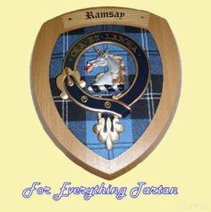 Clan Ramsay Tartan Woodcarver Wooden Wall Plaque Ramsay Crest 7 x 8