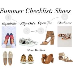 """""""Summer Checklist: Shoes"""" by kristen-diperno on Polyvore http://city-styled.tumblr.com/ @citystyled"""
