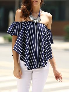 SHARE & Get it FREE | Sweet Off-The-Shoulder Striped T-Shirt For Women - Purplish blueFor Fashion Lovers only:80,000+ Items • New Arrivals Daily Join Zaful: Get YOUR $50 NOW!