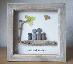 Pebble Art framed Picture Our little Family