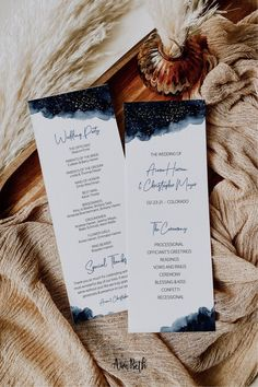 Navy Blue And Gold Wedding, Navy Gold, Print Your Own Wedding Programs, Galaxy Wedding, Starry Night Wedding, Celestial Wedding, Ceremony Programs, Program Template, Printing Services
