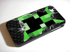 MINECRAFT CREEPER ON BROKEN GLASS NDR for iPhone 4/4s/5/5s/5c, Samsung Galaxy s3/s4 case